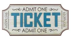 Cream & Blue Admit One Ticket HOME MOVIE THEATER SIGN vintage room Wall Decor!