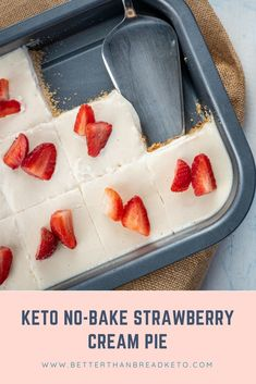 Keto No-Bake Strawberry Cream Pie Strawberry desserts are great for any occasion. With no need for baking, you& have a wonderful keto no-bake strawberry cream pie in no time! Low Carb Sweets, Low Carb Desserts, Low Carb Recipes, Dessert Recipes, Pie Dessert, Dessert Book, Frozen Desserts, Ketogenic Recipes, Quick Recipes