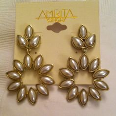 AMRITA SINGH Dangle post earrings Amrita Singh popular Jewelry Designer.  These beautiful dangle earrings are18k Gold Plated. style # ERC03. Tear drop and Marquee shape pearls complete the front. Back tag indicates earrings are lead free and nickel free. Might be perfect look with a wedding dress. These earrings were received As a gift but were never worn. Amrita Singh Jewelry Earrings