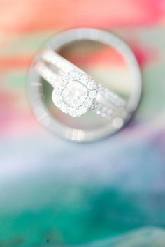 #wedding #ring solitaire square cute with a diamond halo Photography: Jordan Brittley - jordanbrittley.com  Read More: http://stylemepretty.com/2013/10/25/missouri-rainbow-wedding-from-jordan-brittley-photography/
