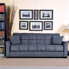handy living tyler microfiber storage arm convert-a-couch and sofa