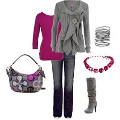 Raspberry and grey. I just need to find some great grey boots and that pretty little purse and I'll have this outfit!