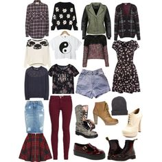 Soft grunge clothing collection. I especially like the grey boots and assortment of tops.