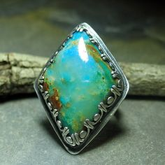 Almost Heaven - Pisco Blue Gem chrysocolla.  Large, bold statement ring in a heavenly color!   Size 8.  Other Pisco Blue stones are available.    ....from Lavender Cottage Jewelry