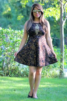 Metallic Tribal Print Dress in Black/Gold