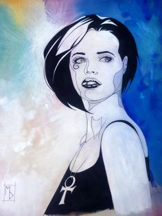 """Death of the Endless, from Neil Gaiman's Sandman series. Mixed media on linen canvas paper, 24""""H x 18""""W. 2012. Art by Michelle Delecki #michelledelecki I bought a print of this at Supanova Brisbane."""