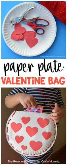 Make a paper plate valentines bag for the kids to hold their candy and gifts!! Cute valentines day craft to make. #daycareideas