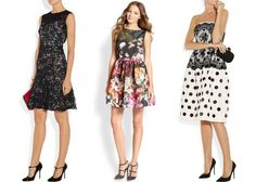 from left: ruby printed silk crepe de chine and cotton-blend lace dress, $3,220, erdem, net-a-porter.com; garden-print dress, $895, red valentino, saksfifthavenue.com; embellished lace and silk-faille dress, $6,990, oscar de la renta, net-a-porter.com