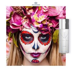 Picture of Dia de los muertos. Woman with sugar skull makeup on a floral background. stock photo, images and stock photography. Sugar Skull Makeup, Vintage Logo Design, Celebrity Makeup, Makeup Designs, Day Of The Dead, Image Photography, Makeup Yourself, Best Makeup Products, Halloween Face Makeup