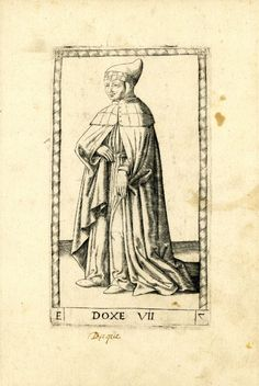 WL male figure turned to l; wearing long cloak; after the so-called Tarocchi Cards of Mantegna.  Engraving