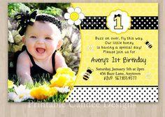 Bumble Bee Birthday Invitation - DIY Custom Printable via Etsy