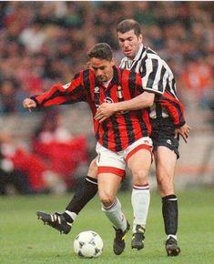 AC Milan 1 Juventus 6 in April 1997 at the San Siro. Roberto Baggio under pressure from Zinedine Zidane in Serie A.