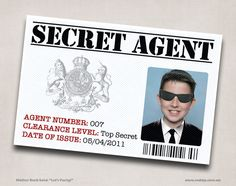 """Secret Agent Party ID    Mother Duck Said: """"Lets Party!"""": Secret Agent Spy Birthday Party Invitation and Printables"""