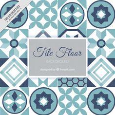 Suelo de baldosas en tonos azules Vector Gratis