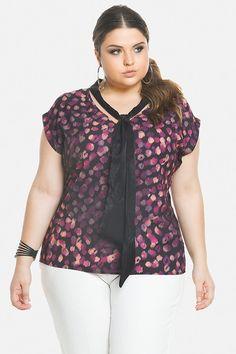Blusa Plus Size Lisa Ou Estampada Com Amarração Frontal - Mescla