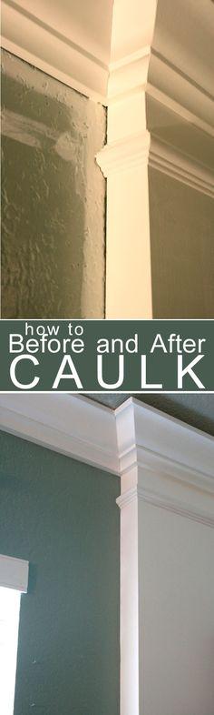 How to Caulk Moldings! #caulk #moldings #DIY - the tip about painting over the caulk is right on.  #caulking #painting #tipsandtricks