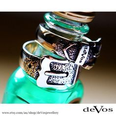 Sterling silver belt buckle rings. Design and made on the Gold Coast, Australia.
