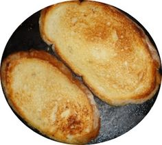 accompany homemade soup with Old New England Recipes: Making toast in a cast iron frying pan, makes great appetizers, bruschetta and easy enough to do while camping for breakfast, lunch or dinner.