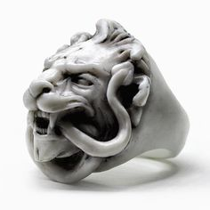 WHITE LION RING material: marblecolour options:This item is fully handcrafted using natural materials; it is not printed or automatically produced. Executed in a unique techniq Diy Schmuck, Schmuck Design, Jewelry Accessories, Jewelry Design, Lion Ring, Fine Jewelry, Unique Jewelry, Women's Jewelry, Navajo Jewelry