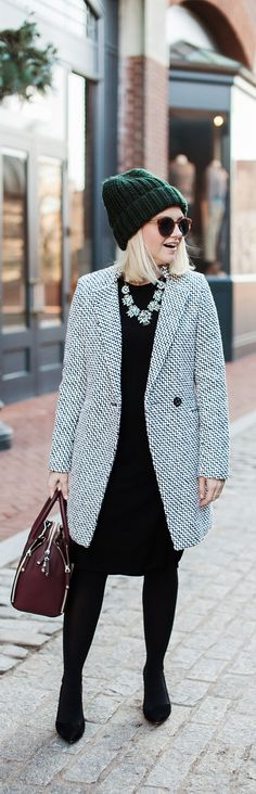 How To Style A Tweed Coat For Winter - Poor Little It Girl