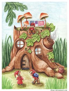 Home for little elves by Ilona-S.deviantart.com on @DeviantArt Town Drawing, House Drawing, Children's Book Illustration, Watercolor Illustration, Creative Haven Coloring Books, Fairy Tree Houses, Art Drawings Sketches Simple, Color Pencil Art, Fairy Art