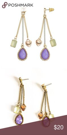 """Juicy Couture Purple Teardrop Linear Drop Earrings Juicy Couture new purple teardrop, mint stone, and rose tone heart linear drop earrings are stunning!  ▪️METAL: Silver, gold, rose gold tone ▪️Length: 2.5"""" ▪️Backings: post ▪️SIMULATED STONES: Purple & mint Juicy Couture Jewelry Earrings"""