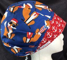 93cdb8258d134 Cuss Like a Sailor Surgical Cap Scrub Hats Bouffant Surgical Cap Medical  Caps OR Surgery Hats Red Anchor headband Navy Blue Foxes