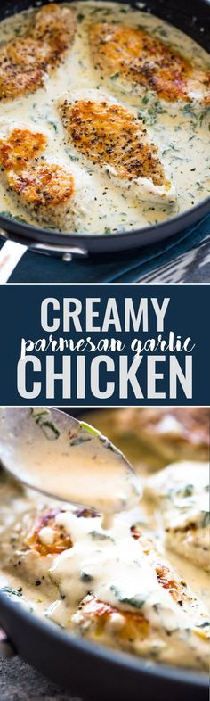 Creamy Parmesan Garlic Chicken Family dinners, family recipes, recipes to try, chicken recipes, week night meals Think Food, I Love Food, Good Food, Yummy Food, Garlic Parmesan Chicken, Garlic Chicken Recipes, Tumeric Chicken, Breaded Chicken, Boneless Chicken