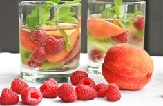 White Sangria Sparkler Recipe  1-2 Bottle of crisp white wine, I used 1 bottle Sauvignon Blanc and 1 bottle of sparkling Vino Verde  2 ripe local peaches, sliced  1 pint raspberries  2 kiwis  several sprigs of mint  Stevia,