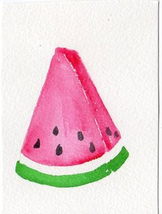 ACEO  Watermelon Wedge Watercolor Painting by SharonFosterArt, $6.70