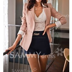 $18.05 Lapel Collar Long Sleeves Color Block Sweet Style Polyester Blazer For Women