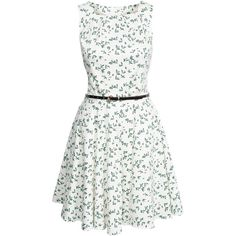Closet Flower Belt Dress ($100) ❤ liked on Polyvore featuring dresses, vestidos, party dresses, patterned, womens-fashion, white cocktail dresses, tall dresses, cotton dress, sleeveless cocktail dress and embellished cocktail dress