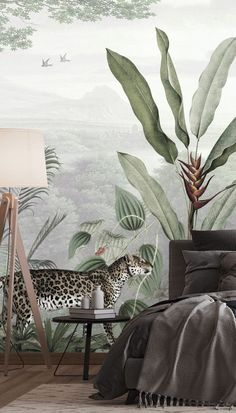 Create a beautiful dark bedroom aesthetic with this dark bedroom idea for your modern home. Style this tropical jungle wallpaper with rustic wooden furniture and choose dark or black bedding to compliment. Pairing green decor with charcoal grey bedding or black throw cushions is a great way to tone down dark interiors. Head to Wallsauce.com to get the look!