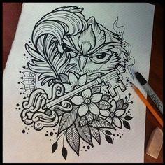 Звоните в любое время | We Heart It | drawing, owl, and draw