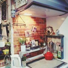 カフェ風/男前/リメ缶/DIY/セリアのレンガ柄リメイクシート/植物…などのインテリア実例 - 2015-02-19 09:04:04 | RoomClip(ルームクリップ)   (壁)