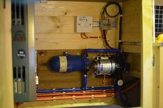 Water pump and accumulator. Heater to the left