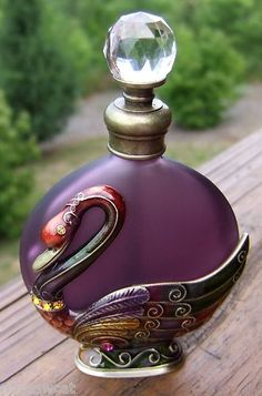 Enamel Jeweled Swan Purple Perfume Bottle!