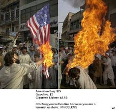 funny priceless picture American flag burner terrorist catches fire
