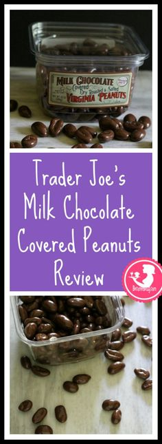 Trader Joe's Milk Chocolate Covered Dry Roasted and Salted Virginia Peanuts review. Want to know if this is something worth buying from Trader Joe's? All pins link to BecomeBetty.com where you can find reviews, pictures, thoughts, calorie counts, nutritional information, how to prepare, allergy information, and how to prepare each product.