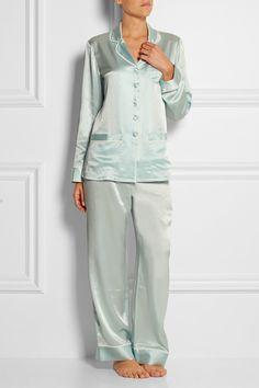 Olivia von Halle Ava silk georgette-trimmed silk-satin pajama set NET-A-PORTER.COM