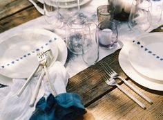 Hand Dyed Table Runners Napkins Blue Farmtables