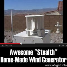 "This short, inspiring video introduction to the ""Stealth"" wind turbine shows a simple design of home electricity generator that is really elegant! This is a Vertical Axis Wind Turbine (or VAWT) that is more compact than the more common horizontal type (HAWT)."