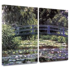 'Bridge at Sea Rose Pond' by Claude Monet 2 Piece Painting Print Gallery-Wrapped on Canvas Set