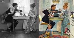 """Norman Rockwell would careful stage photographs to use for his famous detailed illustrations. Here is """"Breakfast Table Political Argument"""""""