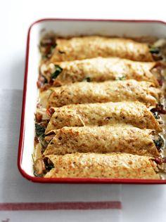 Use leftover roast chicken to make this speedy savoury pancake recipe.