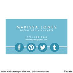 Social Media Manager Blue Business Cards SOLD, thank you to the customer in the UK
