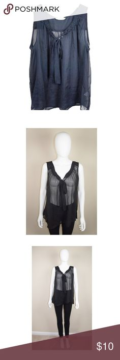 Old navy sheer ribbon sleeveless top XL Old Navy Sheer Black Top Size XL Pre-owned Material : Polyester Ribbon style  Sheer - see through NO RETURN Old Navy Tops Blouses