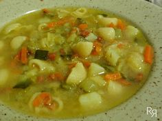 las recetillas de romo: SOPA MINESTRONE Cheeseburger Chowder, Italian Recipes, Soup, Food Menu, Cooking Recipes, Plate, Rice, Italian Cooking, Thermomix