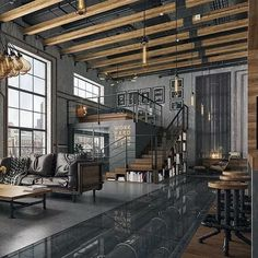 Modern loft with industrial features. Modern loft with industrial features. The post Modern loft with industrial features. appeared first on Housing ideas. Industrial Interior Design, Industrial Interiors, Industrial House, Home Interior Design, Industrial Lighting, Industrial Style, Kitchen Industrial, Industrial Office, Industrial Stairs