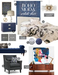 black and blue master suite mood board by @staceyday - boho, mod, art
